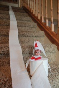 Elf on the shelf toilet papers the stairs